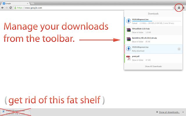 Schnell die Downloads checken, per Popdown