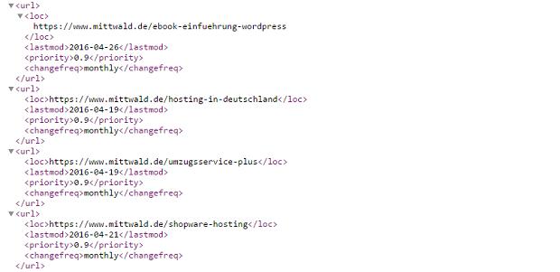 Ein Screenshot von einer automatisch generierten Sitemap.