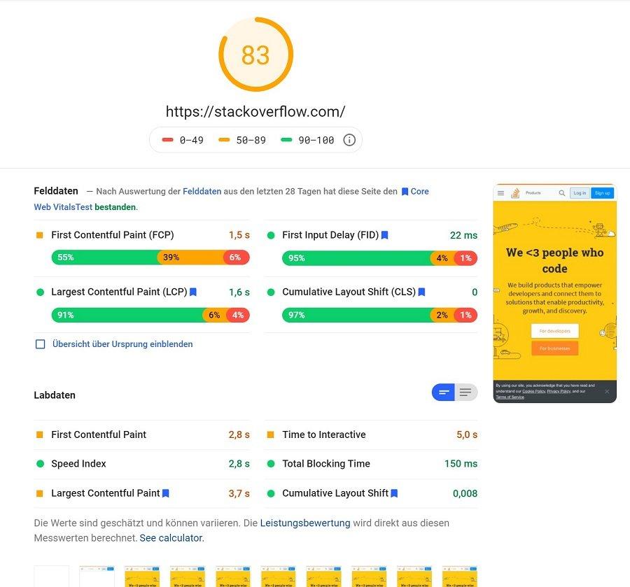 Screenshot PageSpeed Insights von Stackoverflow