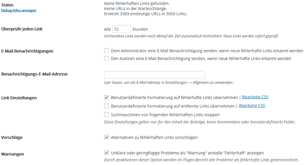 Screenshot Broken Link Checker Plugin Optionen