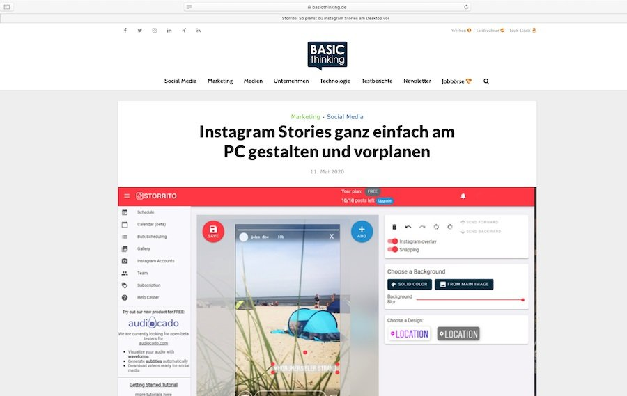 Instagram Stories vorplanen geht. Wie? Das erklärt Basic Thinking.