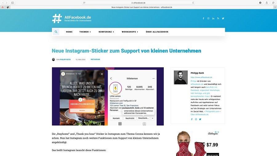 Instagram möchte mit Stickern kleine Unternehmen mehr supporten.