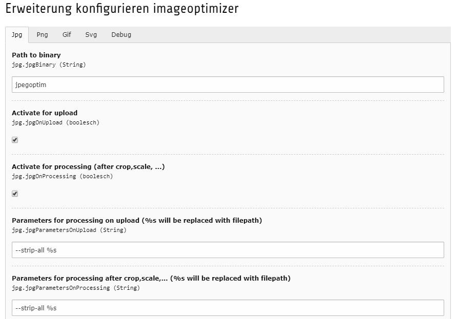 Fenster zum Erweiterung konfigurieren im Imageoptimizer