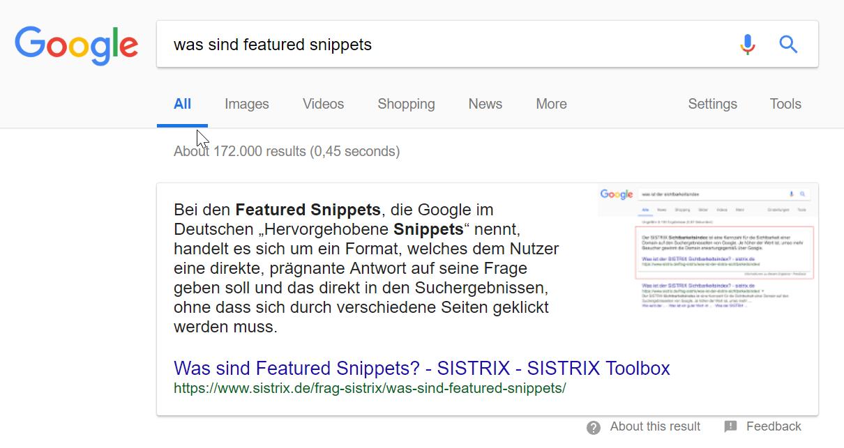 """Suchergebnisseite zu """"was sind Featured Snippets"""""""