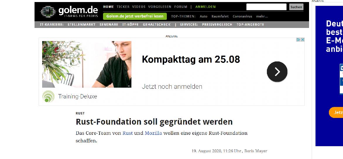 Screenshot Golem.de