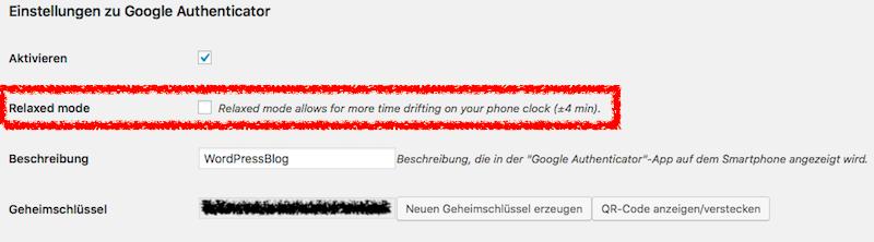 Per Klick ist der Relaxed Mode im Google Authenticator aktivierbar