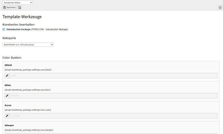 Template-Werkzeug im Bootstrap Package