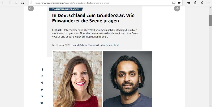 Screenshot von gruenderszene.de
