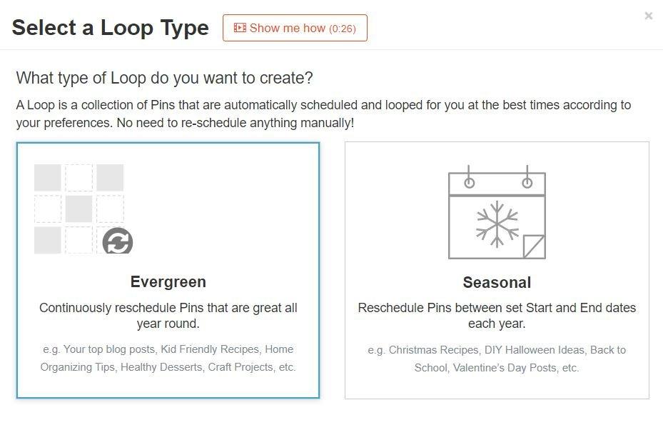 Ein Loop ist eine Sammlung an Pins, die automatisch eingeplant und zur besten Zeit veröffentlich werden