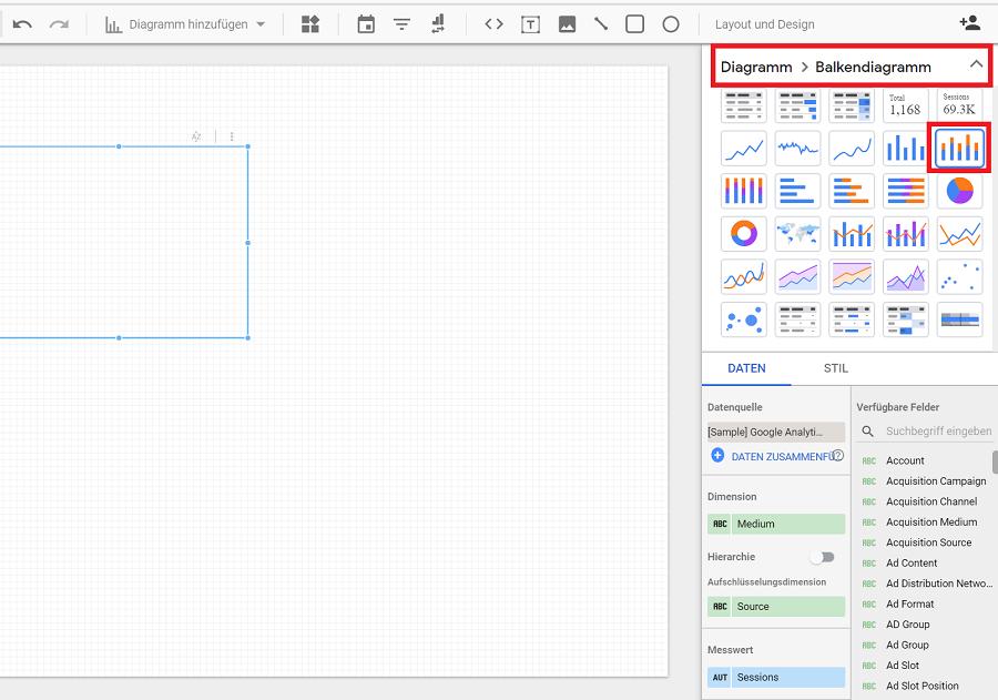 Diagramm-Auswahl im Google Data Studio.
