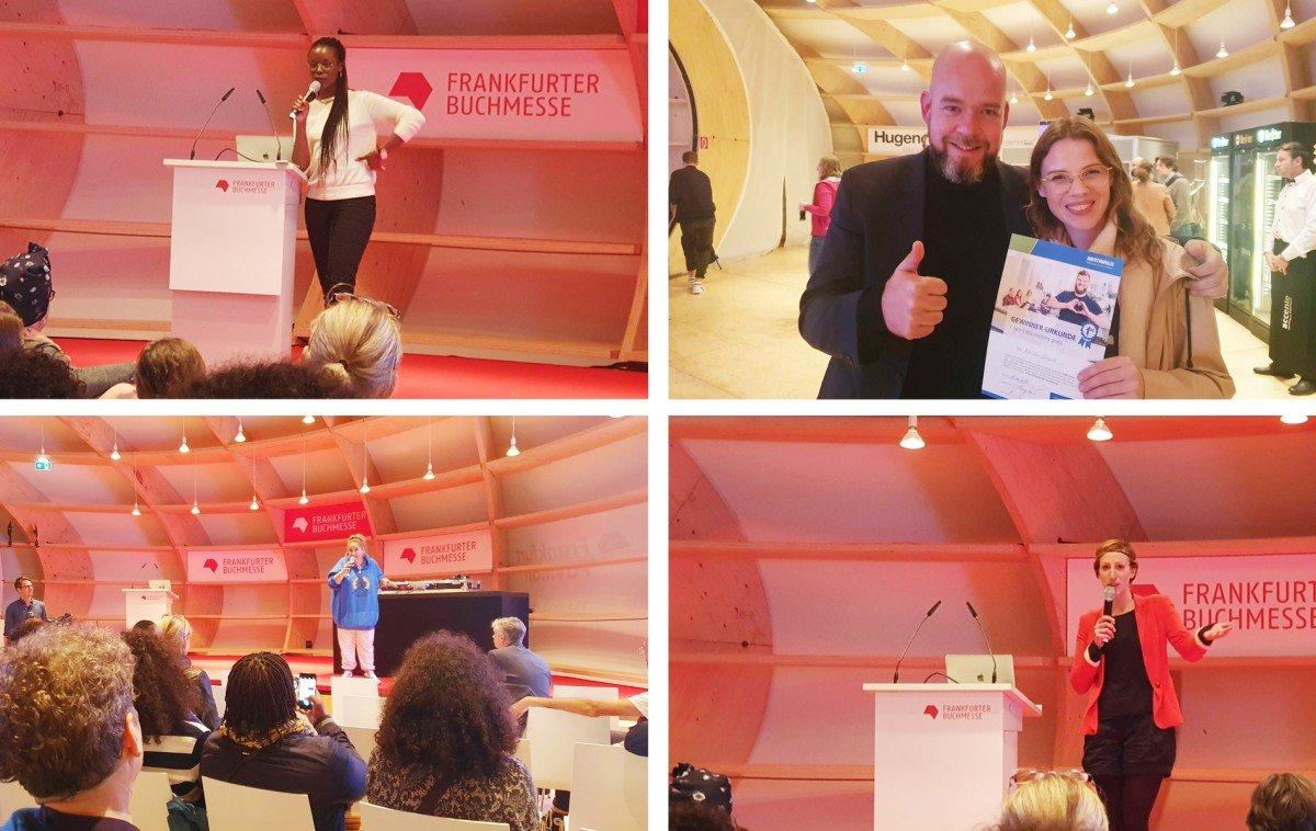 Die Speakerinnen des Orbanism Kommunikationsfestes und die Gewinnerin des CMS-Hosting-Pakets von Mittwald.