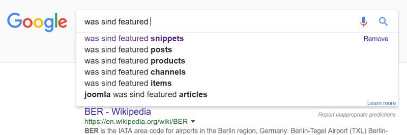 """Googlesuche """"was sind featured"""" mit Suggest-Funktion"""