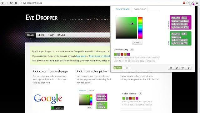 Eye Dropper zeigt dir die Farben einer Website an.