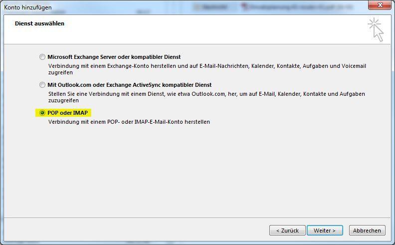 Outlook POP oder IMAP