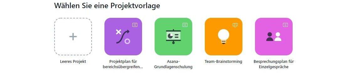 Projektmanagementtool Asana bietet Vorlagen für Projekte.