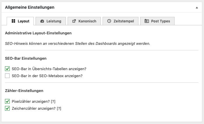 """Einstellungen im WordPress Plugin """"The SEO Framework""""."""