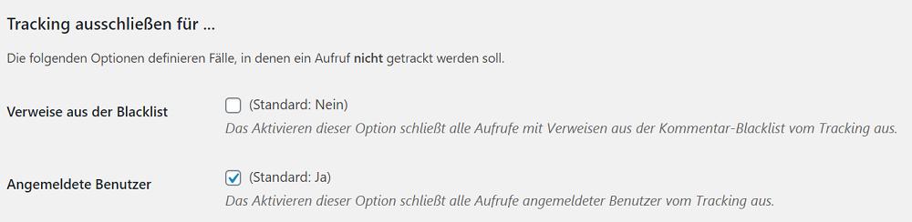 Man kann in Statify individuell auswählen, für wen das Tracking ausgeschlossen werden soll.