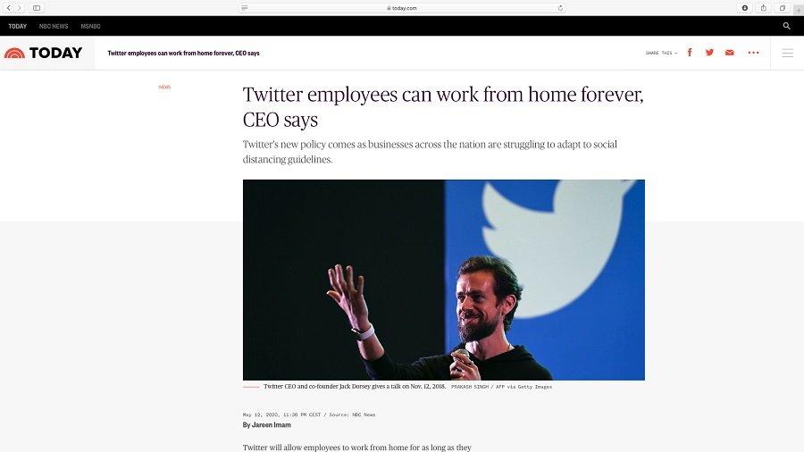 Twitter Mitarbeiter dürfen für immer Homeoffice machen.