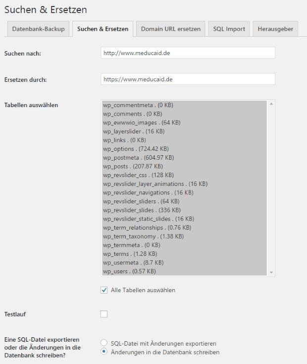 url in wordpress ersetzen search and replace plugin