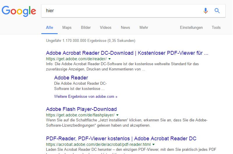 """SERPs für den Suchbegriff """"hier"""""""