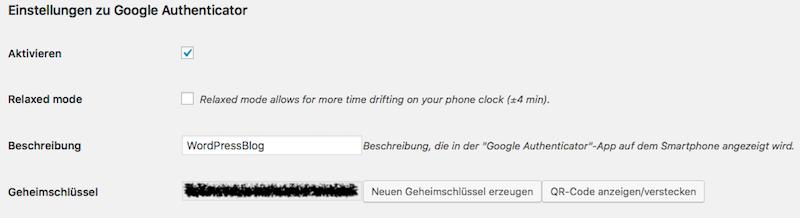 Screenshot zu den Einstellungen des Google Authenticator