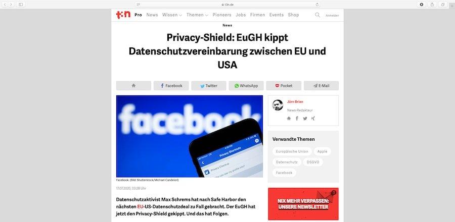 Datenschutzvereinbarung zwischen EU und USA wurde vom EuGH gekippt.