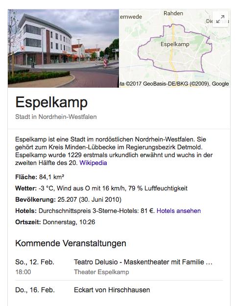 Snippets Google Kurzübersicht Wetter Geographie