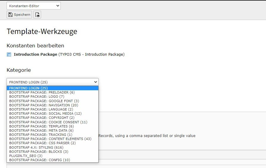 Der Konstanten-Editor beim Bootstrap Package bietet dir über 120 Layout-Einstellungsmöglichkeiten.