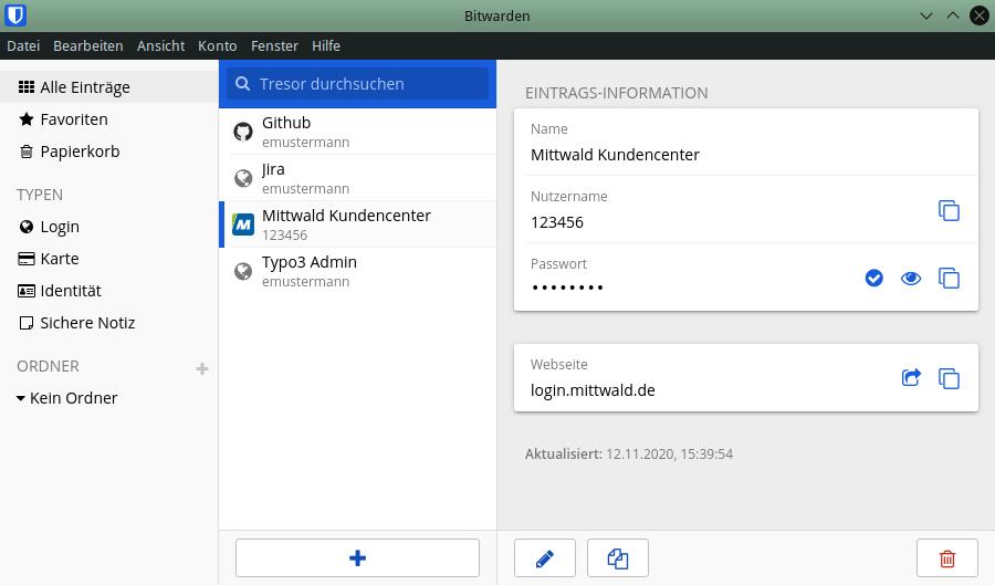 Screenshot des Programms Bitwarden