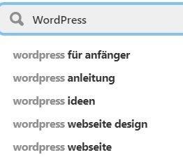 Die Keyword-Recherche bei Pinterest im Suchfeld