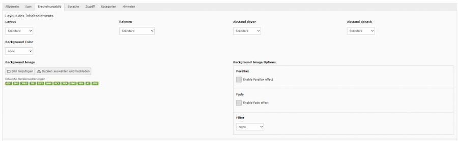 Du hast bei jedem Content Element in Boostrap die Möglichkeit individuelle Layout-Einstellungen vorzunehmen.