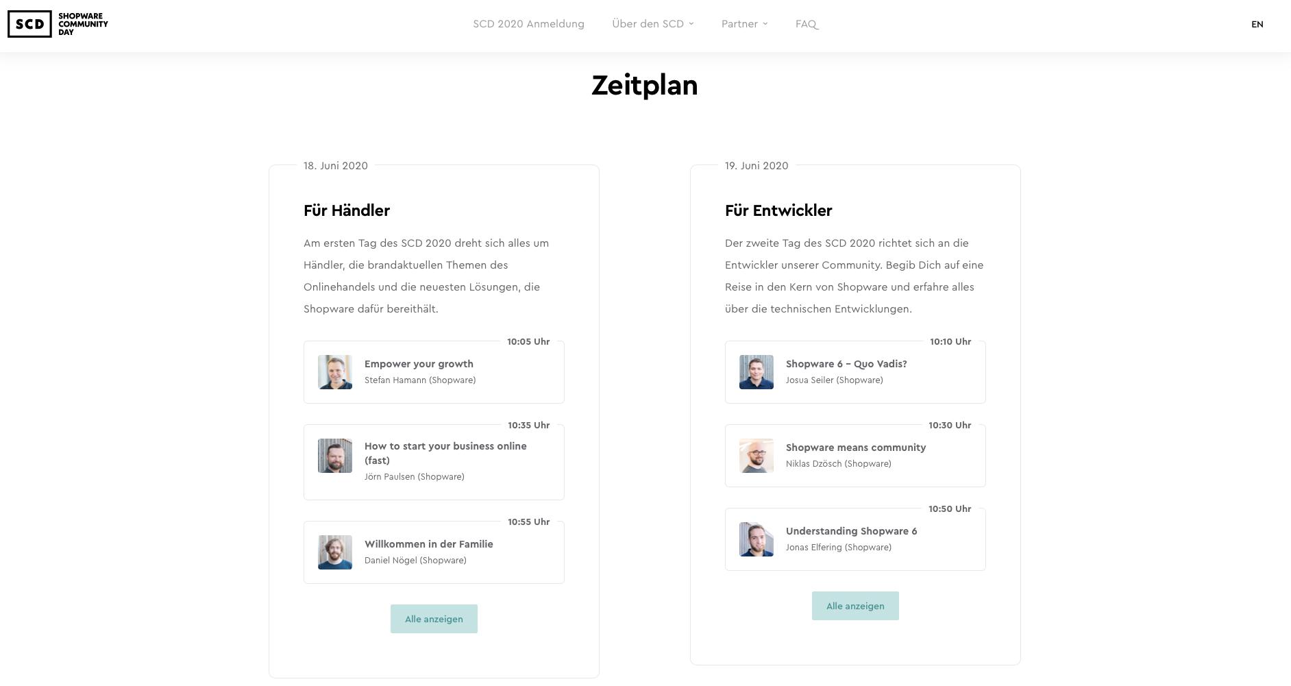 SZeitplan des Shopware Community Days 2020
