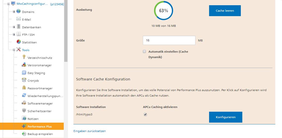 Mit Performance Plus von Mittwald das APCu Caching aktivieren und die maximale Geschwindigkeit aus deiner TYPO3 Installation herausholen.