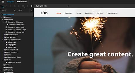Neos kostenlos testen Screen Backend Seitenbaum