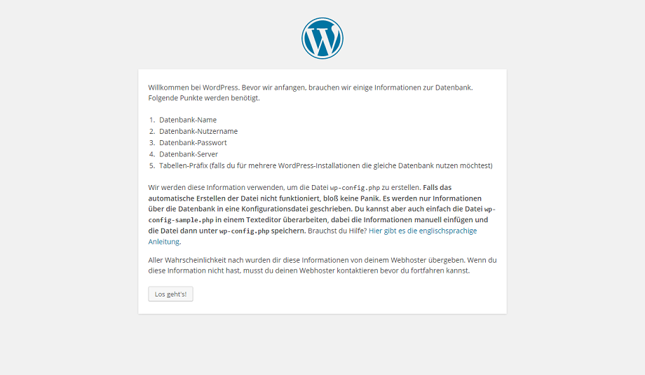 WordPress Setup Konfigurationsdatei
