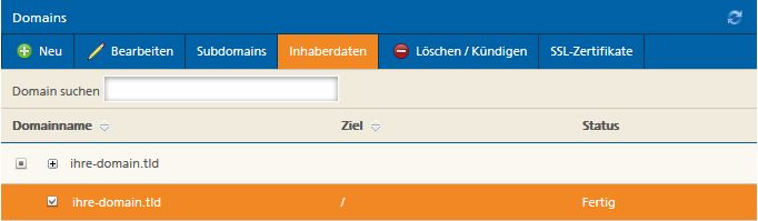 Domain zum Inhaberwechsel auswählen