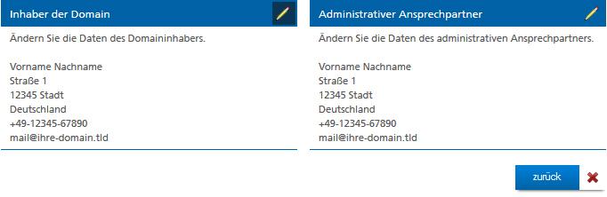 Domain-Daten des Inhabers und Administrators ändern