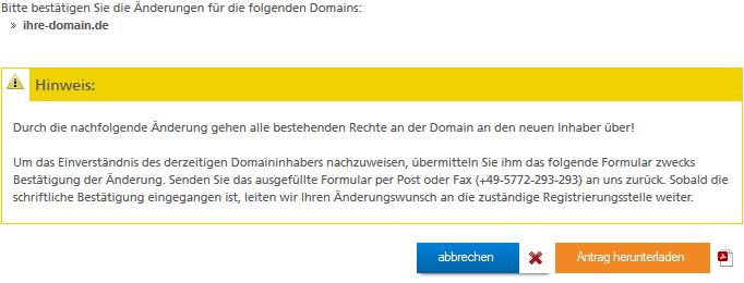 Änderungen für die Domain bestätigen