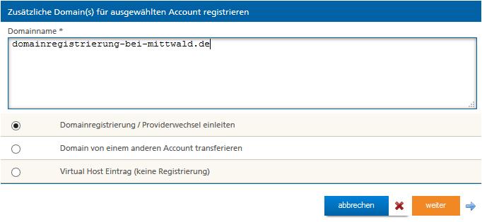 Weitere Domains registrieren