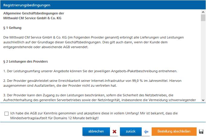 AGB für neue Domain bei Mittwald bestätigen