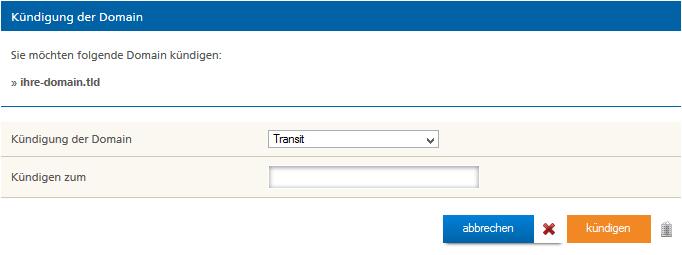 Domain Transit bei Mittwald abschließen