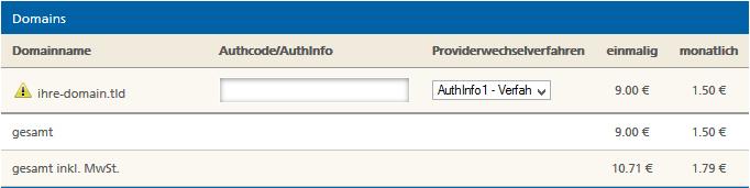 Authcode für Domainwechsel zu Mittwald