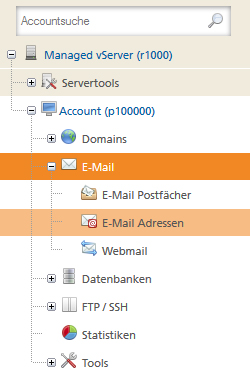 E-Mail-Adressen Accountverwaltung