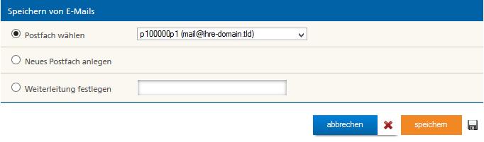 Ort zum Speichern von Mails definieren