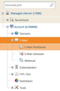 Account für Postfachgröße auswählen