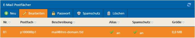 E-Mail-Postfach für Änderung der Postfachgröße auswählen