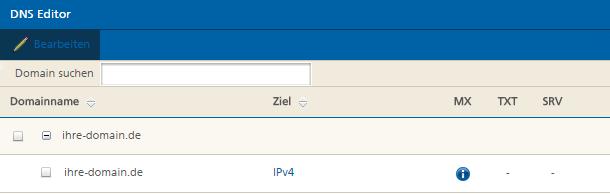 Mittwald Kundencenter DNS Editor