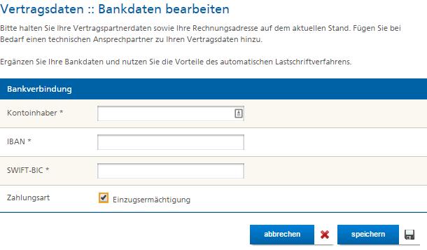 Mittwald Kundencenter Vertragsdaten Bankdaten