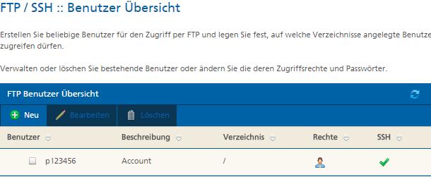 FTP-Benutzer einrichten Mittwald Kundencenter